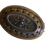 Gold large Victorian Brooch