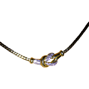 """"""" Lovers Knot"""" in 18k & Diamond Necklace."""