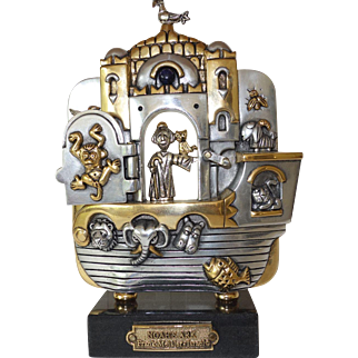 Frank Meisler Noah's Ark Plaque in aluminium with silver and gold plate elements