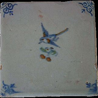 17 century polychrome Dutch tile