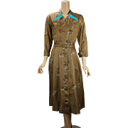 Vintage 1950s Dress Bronze and Teal Button Front Miss Bea Tween B41 W31