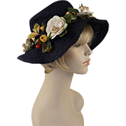 Vintage 1970s Hat Navy Blue Floppy Wide Brim with Wreath of Flowers by Betmar Sz 21