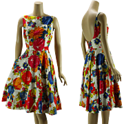 Vintage 1960s Sundress Full Skirt Bright Floral Backless Cotton by Jay Herbert Sz 10 B38 W25