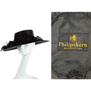 Vintage 1920s Hat Black Straw Wide Brim Sailor Style with Ostrich Feathers by Philipsborn Sz 23