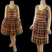 Vintage 1960s Greta Plattry Madras Full Skirt Sundress B40 W30