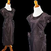Vintage 1950s Dress Dark Grey Taffeta Form Fitting by Milton Lippman B36 W25