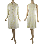 Vintage 1960s Malcolm Starr MOD Yellow and White Brocade Dress and Coat Vtg Sz 14 B36 W32