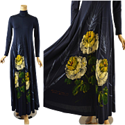RESERVED Vintage 1970s BoHo Hippie Dress Hand Painted by Mimosa Tree  Sz 9/10 B36