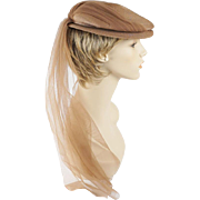 Vintage 1940s Hat Tan Straw Beret Style with Attached Long Veil by Sherman