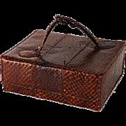Vintage 1950s Handbag Brown Lizard Box Purse NWT