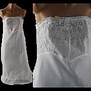Vintage 1950s Cotton Strapless Slip NOS White Eyelet Bias Cut Petticoat Sz S B32