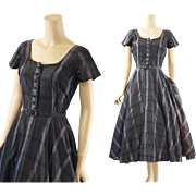 Vintage 1950s Dress Charcoal and Silver Taffeta Full Skirt Party B36 W26