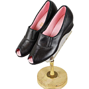 Vintage NOS Daniel Green Black Wedge Heel Peep Toe Boudoir Bedroom Slippers Shoes Sz 8.5 - 9