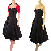 Vintage 1950s Party Dress Black and Red Taffeta Full Sweep Strapless with Shrug B38 W28