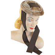 Vintage 1930s Hat Fur Pancake Beret with Ribbon