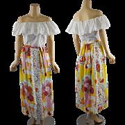 Vintage 1970s Dress Drop Shoulder White Eyelet Maxi by John of California B36 W27