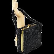 Vintage 1950s Handbag Black Beaded Box Purse