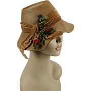 Vintage 1940s Hat Tan Panama Straw Wavy Brim by Lazarus Model Sz 22
