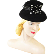 Vintage 1940s Toy Tilt Hat Black Felt Chimney Crown with Clear Faceted Buttons Studio Styles by Warner Bros