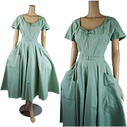 Vintage 1950s Dress Mint Green Cotton Pique Full Skirt Shirtwaist B40 W26