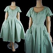 Vintage 1950s Dress Mint Green Cotton Pique Full Skirt Shirtwaist B40 W26 - Red Tag Sale Item