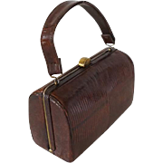 Vintage 1950s Handbag Small Brown Lizard Box Purse