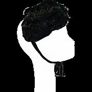 Antique 1800s Victorian Beaded Black Velvet Hat