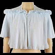 Vintage 1960s Sky Blue Crystal Pleated Vanity Fair Bed Jacket Sz S