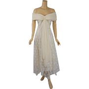 Vintage Ivory Lace and Chiffon Formal Bridal Gown by Jessica McClintock Sz 7/8
