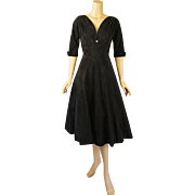 Vintage 1950s Dress Black Faille Full Skirt Cocktail from Saks Fifth Ave B36 W26