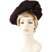 Vintage 1940s Hat Dark Brown Felt Asymmetrical Wide Brim NY Creations Sz 22
