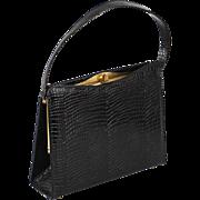 Vintage Faux Reptile Black Handbag by Air Step