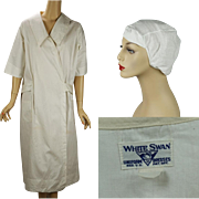 Vintage 1920s Medical Uniform White Wrap Belted Coat Scrub by White Swan with Gauze Head Cover