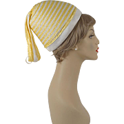 Vintage 1960s Hat Yellow and White Cone Straw with Streamers by Mister T