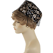 Vintage 1960s Hat Black Gold and Silver Brocade Veiled Pillbox