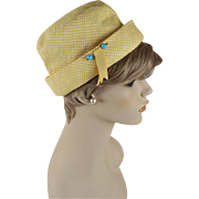 Vintage 1960s Sally Victor Hat Yellow and White Check Summer Cap