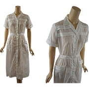 Vintage 1950s Nurse Uniform White Nylon by Wilkshire NWT NOS B40 W28