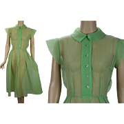 Vintage 1950s Dress Lime Green Sheer Crinkle Nylon B40 W29