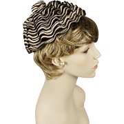 Vintage 1960s Hat Black Taupe and Cream Ruffled Straw Pixie by Evelyn Varon