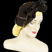 Vintage 1940s Hat Brown Felt Tilt Tipster with Mink Trim by New York Creations Sz 20