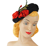 Vintage 1950s Hat Black Pillbox with Red Satin Roses
