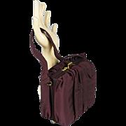 Vintage 1950s Box Purse Chocolate Brown Fabric Handbag by Jenny