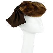 Vintage 1940s Mink Tilt Hat with Attached Split Snood by I Magnin