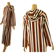 Vintage Full Length Striped Terry Hooded Beach Coat Coverup B38