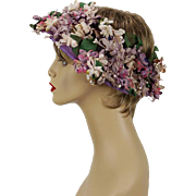 Vintage 1950s Hat Open Crown Wreath Style with Lilac Base and Florals by Replica de Parisienne
