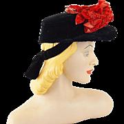 Vintage 1940s Hat Black Velvet Cap with Red Velvet Flowers by Beaumont of NY