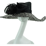 Vintage 1990s Hat Black and White Feathered Asymmetrical Wide Brim by Scala Sz 22.5