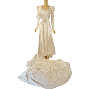 Vintage 1942 Wedding Gown White Slipper Satin with Train with Wedding Announcement B38 W29