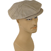 Vintage Newsboy Cap Khaki Twill 8 Panel Hat with Earflaps by Glen Allan Sz 21.5