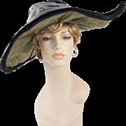 Wide Brim Asymmetrical Black Velvet Hat Sz 22 1/2